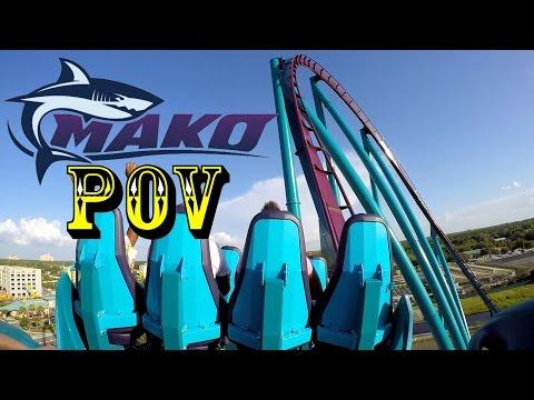 Mako Roller Coaster Back Row POV SeaWorld Orlando HD!!!