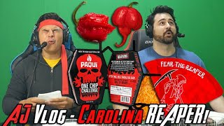 AJ Vlog: Paqui One Chip Challenge Carolina Reaper + Mountain Dew Chips!