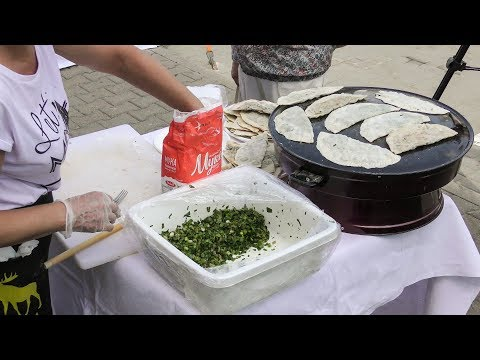 Azerbaijan Street Food. Yummi Kutabi, Savory Pancake Tasted in Minsk, Belarus