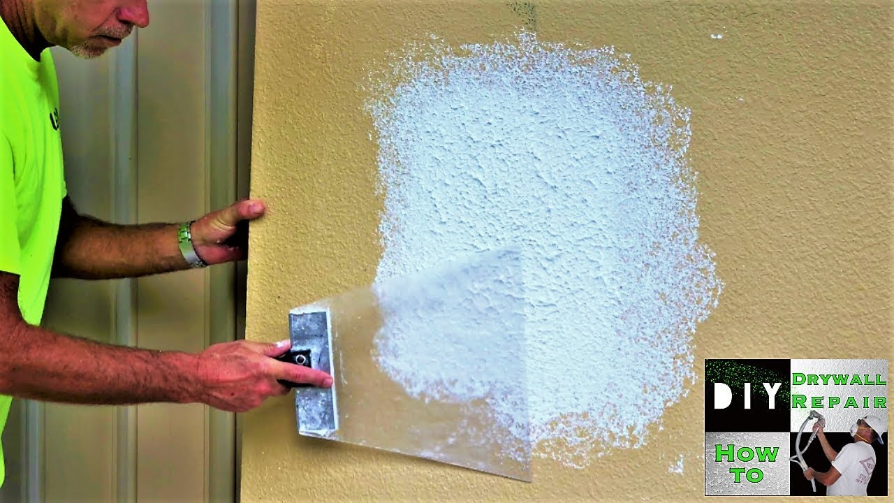 Easiest Way To Repair Knockdown Texture On A Wall Patch Ever Youtube