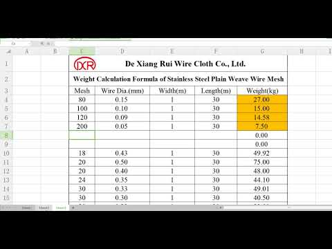 Weight Calculation Formula of Stainless Steel Wire Mesh