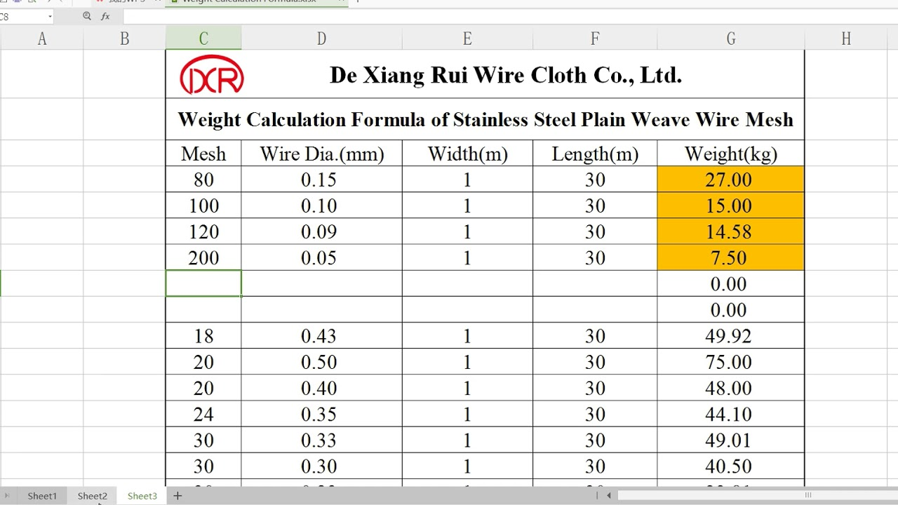 Weight calculation formula of stainless steel wire mesh youtube weight calculation formula of stainless steel wire mesh greentooth Image collections