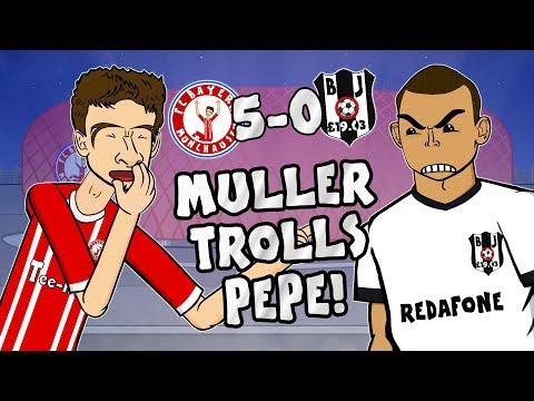 🤣MULLER TROLLS PEPE🤣 5-0! Bayern vs Besiktas (Champions League 2018 Parody Goals Highlights)
