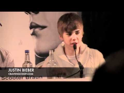Justin Bieber sings at his UK Press Conference. Craven Gossip