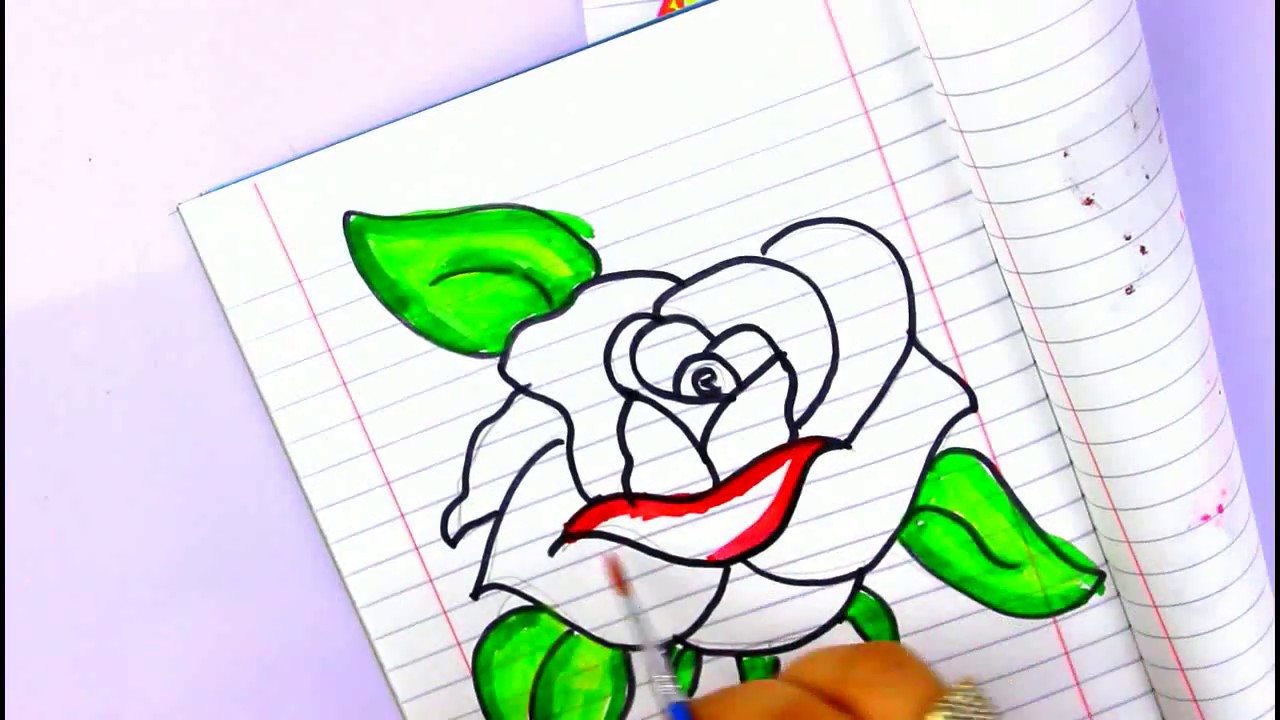 رسم وردة جميله جدا رسم سهل للاطفال وتلوين بالالوان المائيه