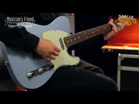 Fender Custom Shop 1963 Relic Telecaster Electric Guitar, Blue Ice Metallic