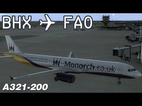 [FSX] Birmingham to Faro | MON402 | Monarch Airlines | Aerosoft Airbus A321 | IVAO