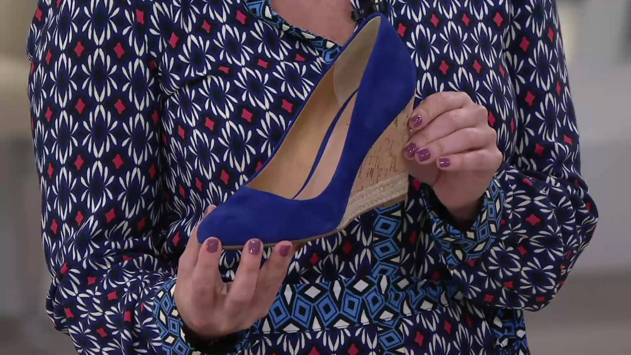 19d633d556a Franco Sarto Suede Cork Wedge Pumps - Calix on QVC - YouTube