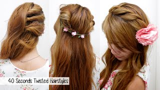 40 Seconds Twisted Hairstyles (TIMED!) l Quick, Cute & Easy Back-to-School Hair Tutorial