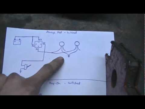 Light Wiring with Relays for REDT4R1 (06/10/12) - YouTube on motorcycle spotlight relay switch diagram, auto relay diagram, light relay wire diagram, spotlight lighting, battery diagram,