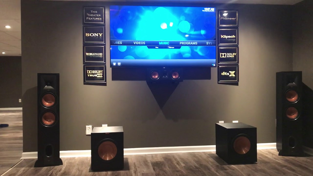 My Klipsch 5 2 2 Dolby Atmos Home Theater Setup Youtube