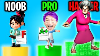 Can We Go NOOB vs PRO vs HACKER In PAPERS GRADE, PLEASE!? (SCARY TEACHER GIVES US AN A+?!)