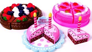 Chocolate Strawberry Cutting Cake Food Toys and Fire Truck Dump Truck Police Car For Children
