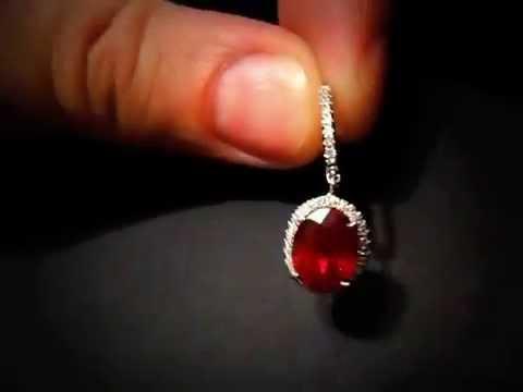 Рубиновые серьги с бриллиантами