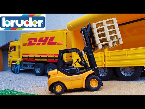 BRUDER toys DHL truck and forklift work
