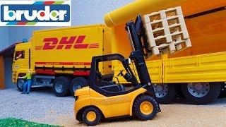 BRUDER toys DHL truck and forklift work