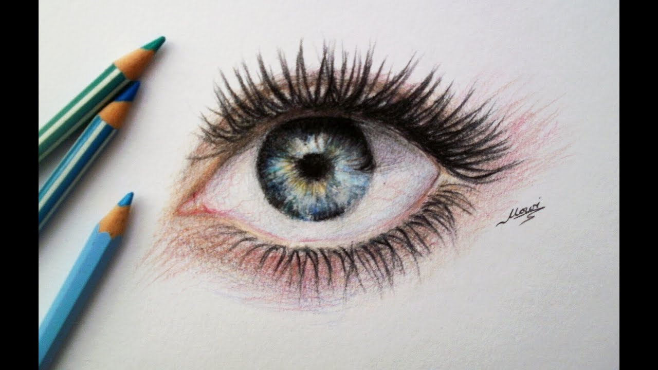 Realistic Eye Drawing (Time Lapse) - YouTube