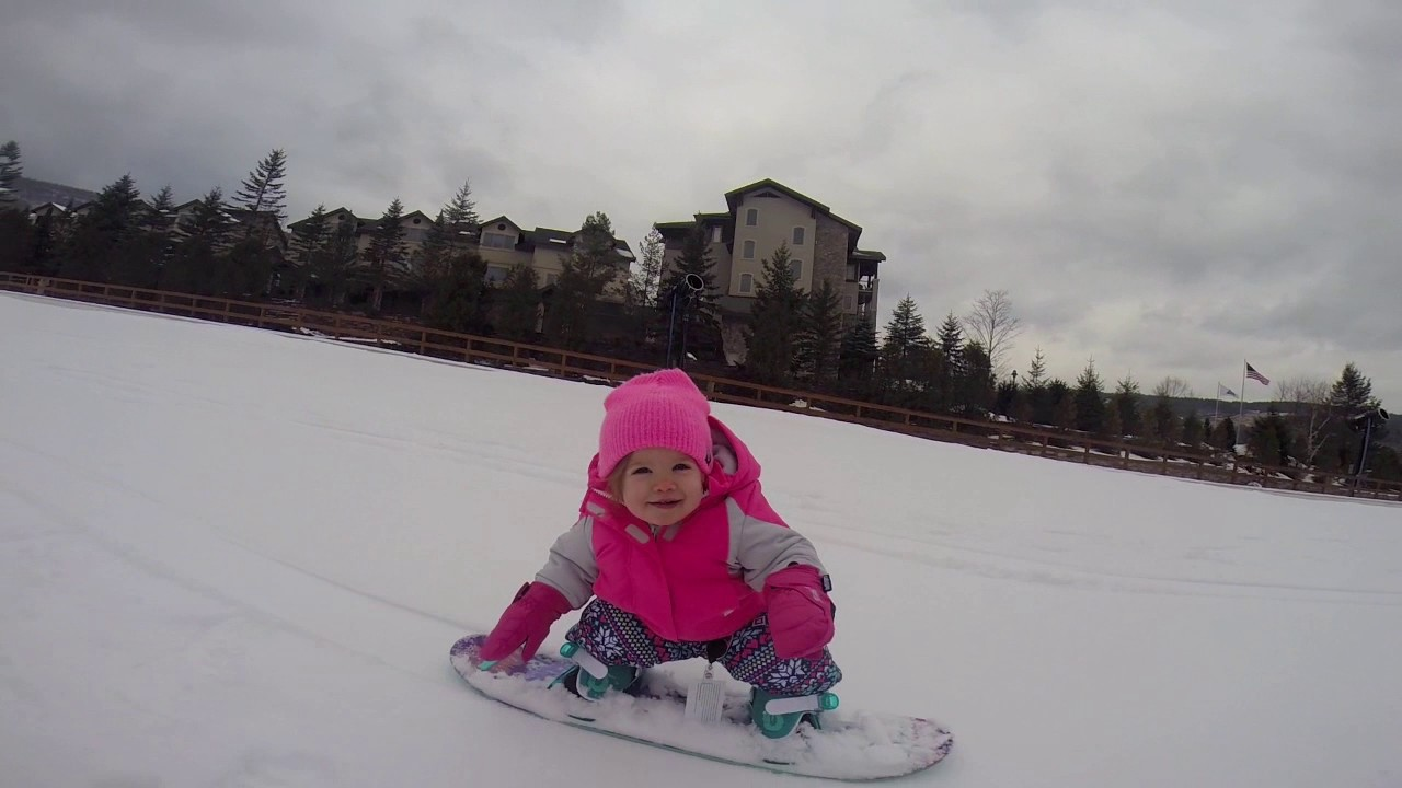Baby Snowboarding Brinley One Year Old Youtube