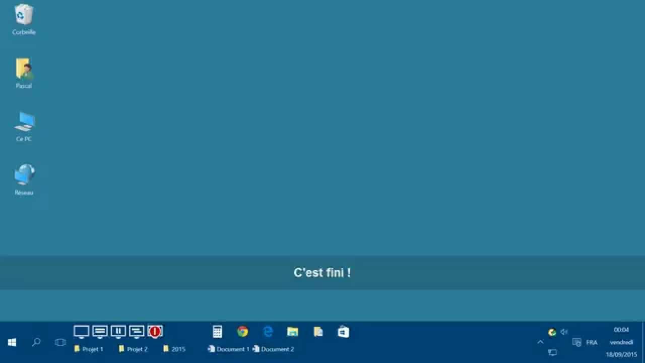 Afficher les ic nes du bureau avec windows 10 youtube for Bureau windows 10