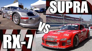 mazda rx7 vs toyota supra buttonwillow track battle insane passing and exhaust sounds