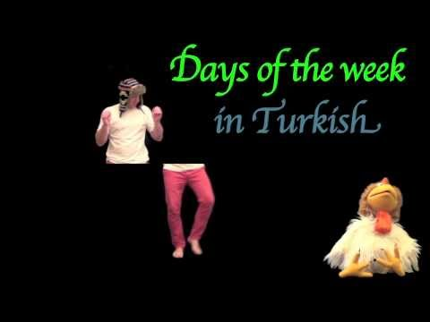 Days of the week in Turkish - Funny Turkish Lessons to help kids remember Turkish words