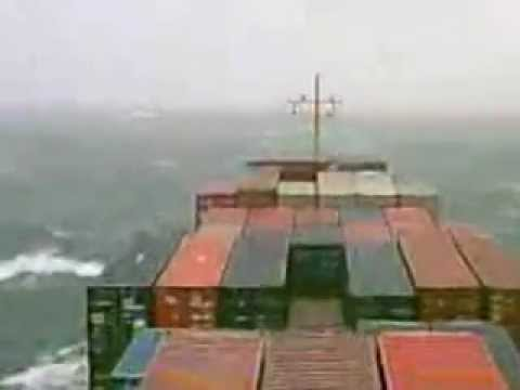Russian ship in a storm