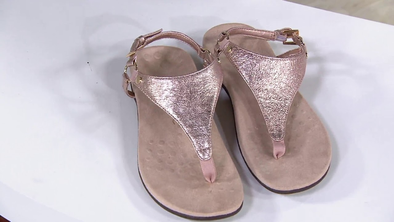 381b97e8ba6 Vionic Leather T-Strap Sandals - Kirra Metallic on QVC - YouTube