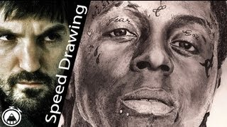 How to draw Lil Wayne! Amazing tribute - 10 hours time lapse!