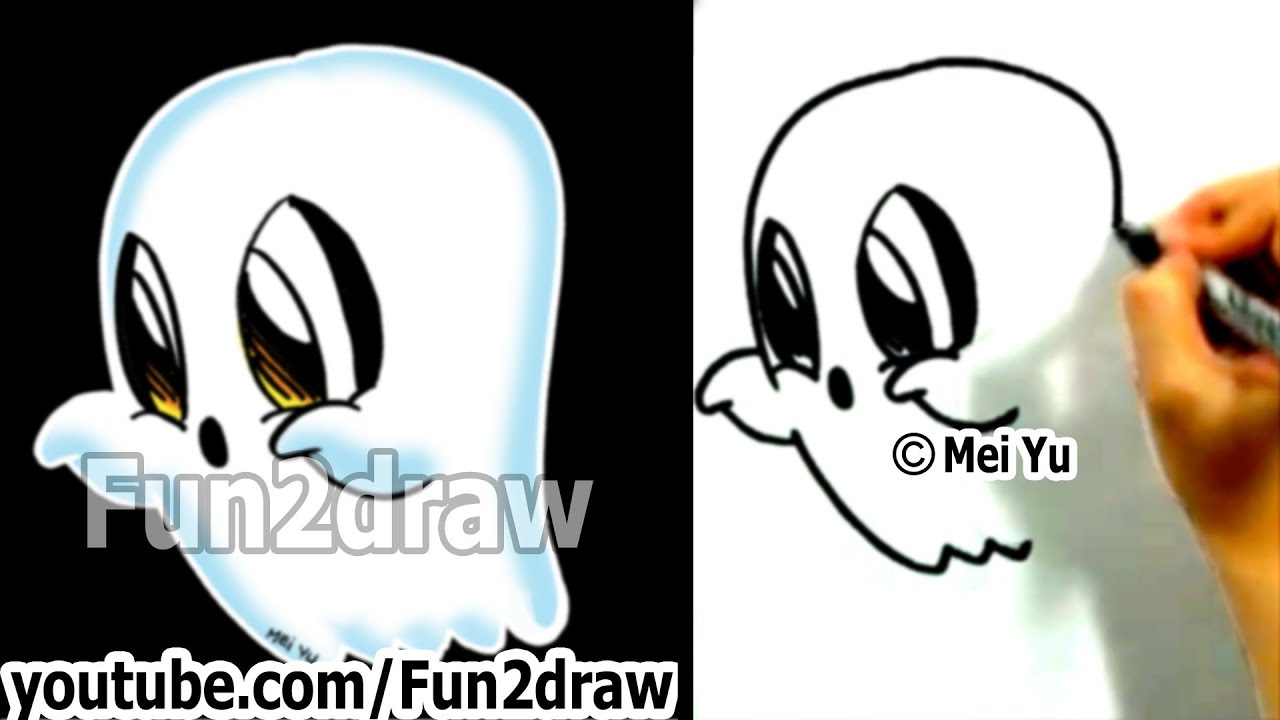 how to draw easy things learn to draw a cartoon ghost halloween fun2draw art lessons for kids youtube - Halloween Youtube Kids