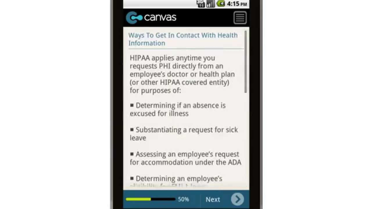 Canvas Manager Employee Acknowledgement Of Hipaa Obligations Tip Sheet Mobile App