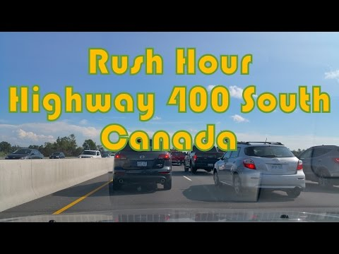 Rush Hour on Highway 400 South (from Lane 5 to Keele Street Toronto)