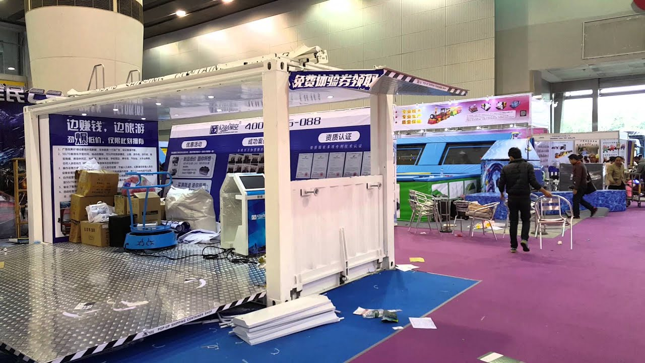 40 Shipping Container >> 20 feet POP-UP container trade show booths - YouTube