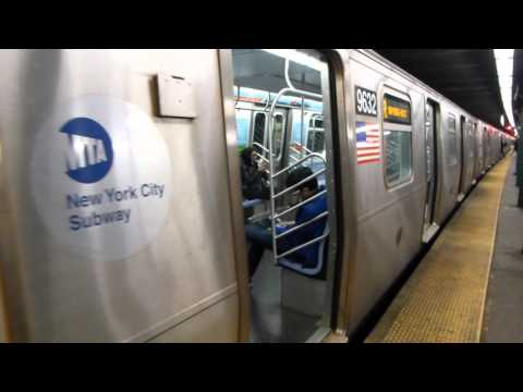 IND 6th Ave Line: R160A-2 & R46 R Trains at West 4th St-Washington Square (Weekend)