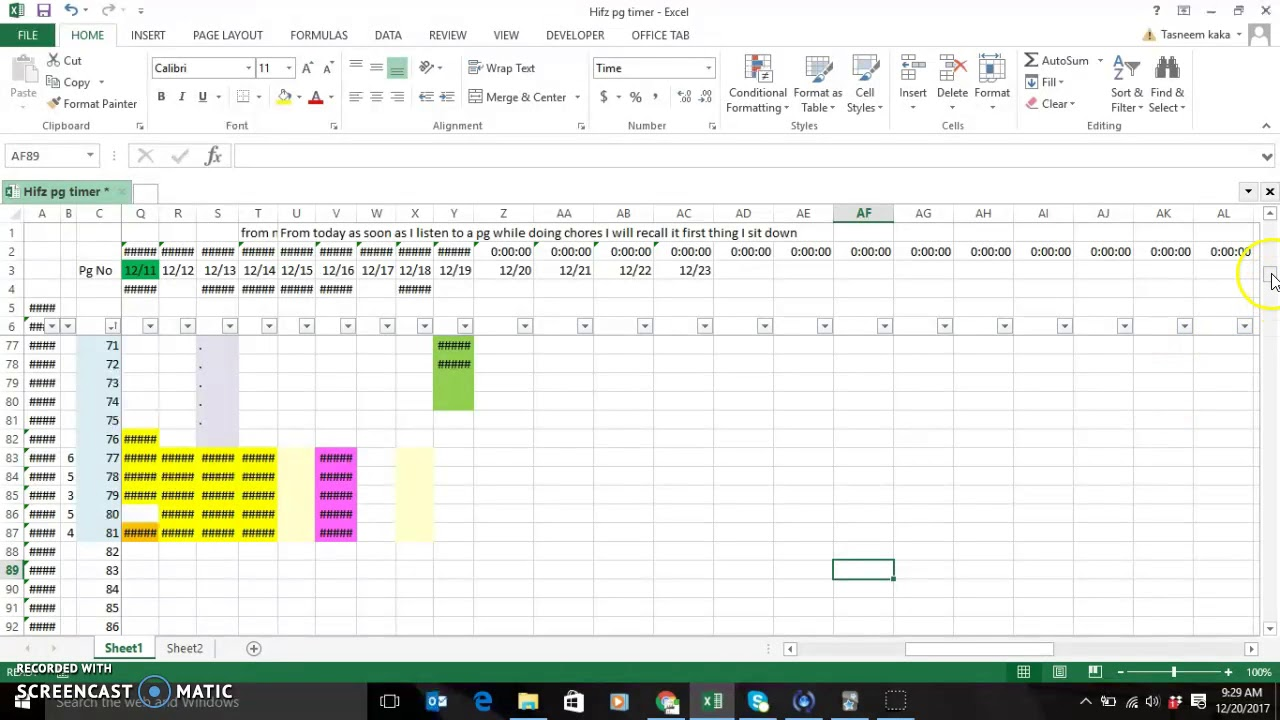 How I organise my Quran Memorization in Excel