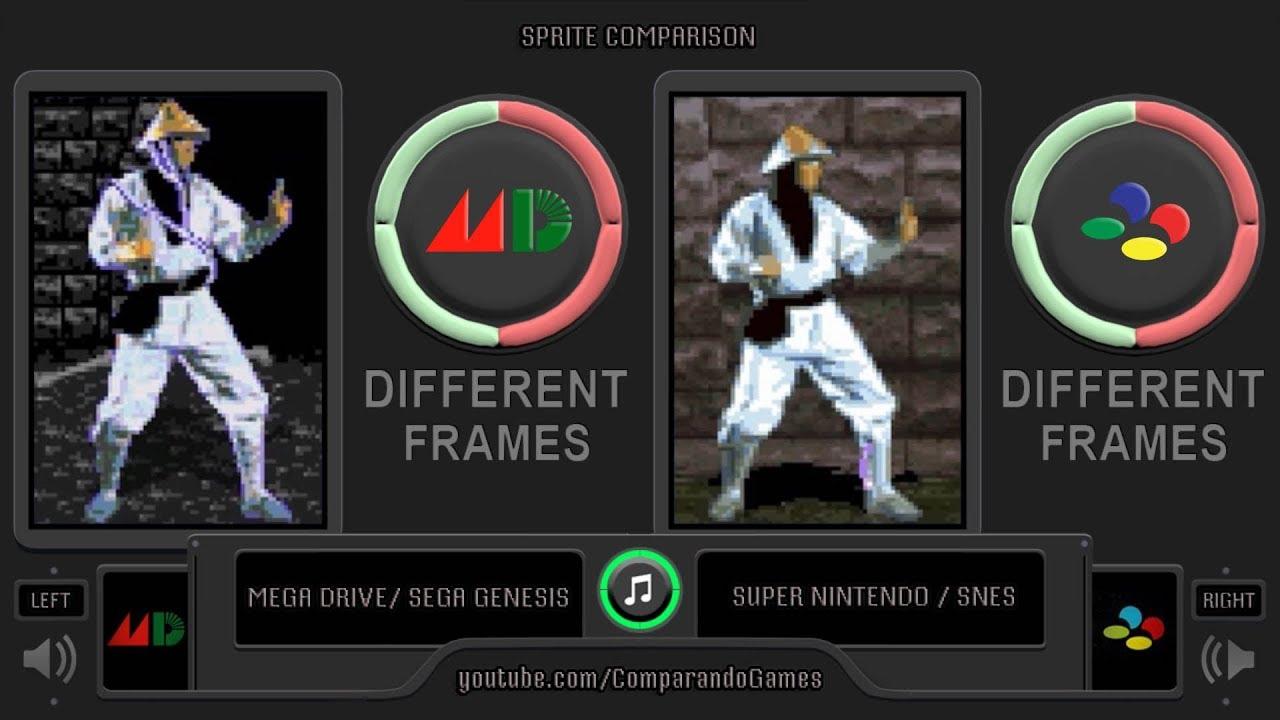 Sprite Comparison of Mortal Kombat (Sega Genesis vs SNES) Side by Side  Comparison
