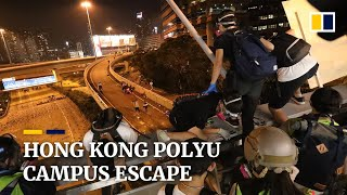 Ropes and motorbikes used to escape Hong Kong Polytechnic University campus siege