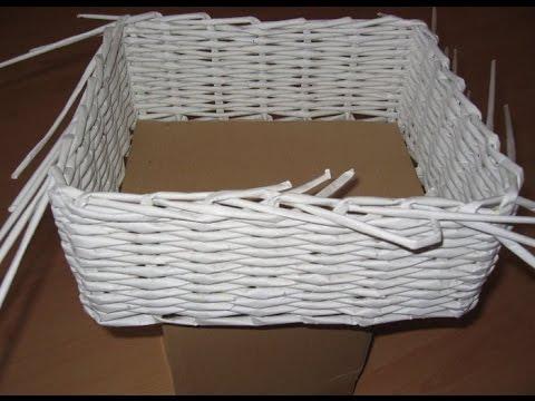 0 - Як зробити кошик з газетних трубочок? Для початківців