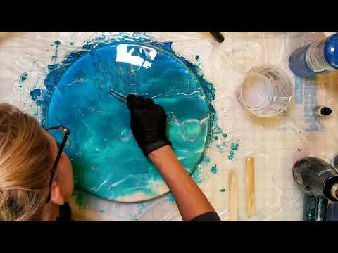 DIY resin beach painting for beginners resin art tutorial on a lazy susan