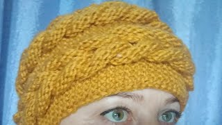 Вязаная шапка с объемной косой.Обьемная коса спицами. #шапкаспицами\