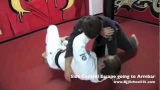 Side Control Escape Going to Armbar | BJJSchool101.com