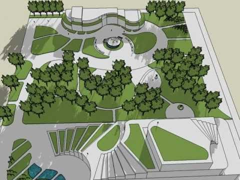 landscape architects, garden design - sketchup - YouTube