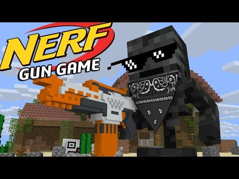 Monster school: EPIC NERF GUN GAME  Minecraft Animation