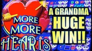 ★NEW SLOT!! MORE MORE HEARTS★ A GRANDMA HUGE WIN! Slot Machine Bonus (NOT MINE!)