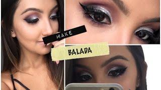 Maquiagem roxa com glitter | Luiza Villeroy