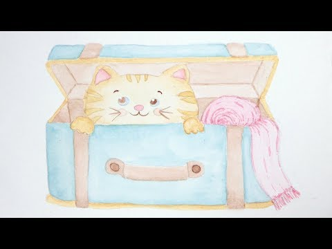Cat Cartoons Travel Luggage Watercolor Painting | Happy Bouncy Upbeat Playtime Baby Nursery Music