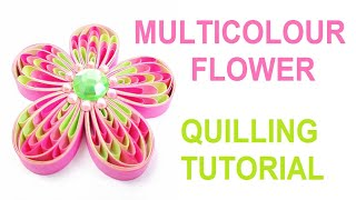 Multicolour quilling flower tutorial