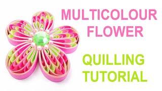 Multicolour quilling flower tutorial