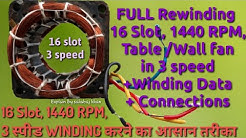 Full Rewinding 16 slots, 1440 RPM, Table/wall fan Motor Winding in 3 Speed in simple Way