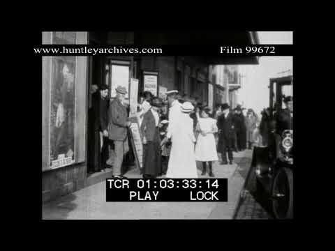 Going to the Cinema in 1913.  Archive film 99672