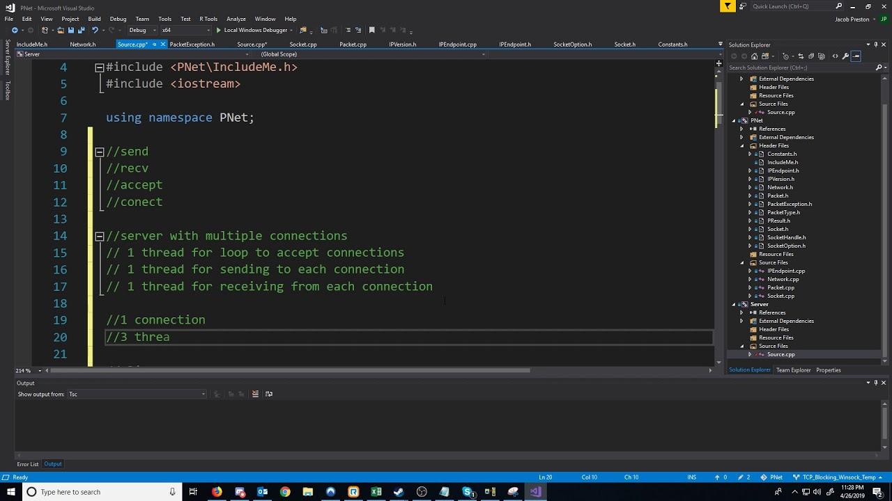 C++ Blocking Sockets Networking [Winsock] Summary